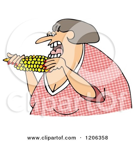 Cartoon of a Woman Eating Corn - Royalty Free Clipart by djart
