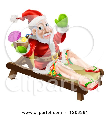 Cartoon of a Relaxed Santa Holding a Cocktail on a Beach Lounge Chair - Royalty Free Vector Clipart by AtStockIllustration
