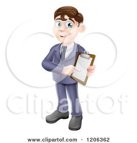Cartoon of a Brunette Businessman Pointing to and Holding a Clipboard - Royalty Free Vector Clipart by AtStockIllustration