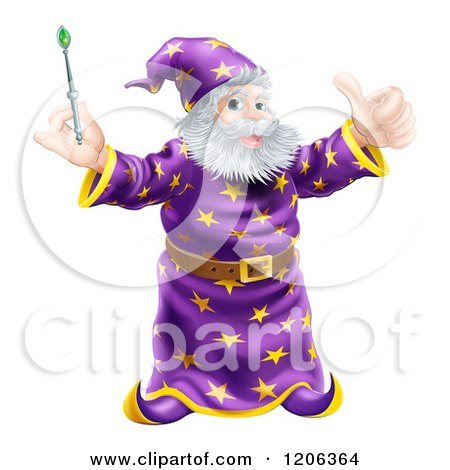 Cartoon of a Happy Wizard Holding a Green Wand and a Thumb up - Royalty Free Vector Clipart by AtStockIllustration