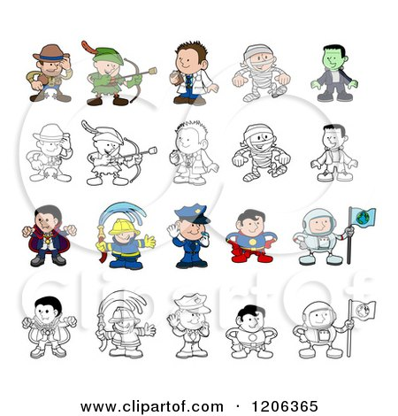 Cartoon of Colored and Outlined People and Children in Halloween Costumes and Uniforms - Royalty Free Vector Clipart by AtStockIllustration