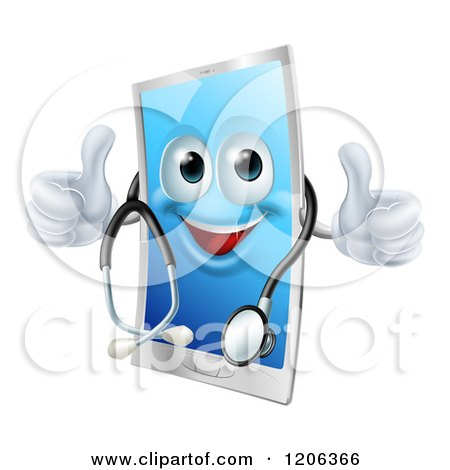 Cartoon of a Happy Cell Phone Wearing a Stethoscope and Holding Two Thumbs up - Royalty Free Vector Clipart by AtStockIllustration