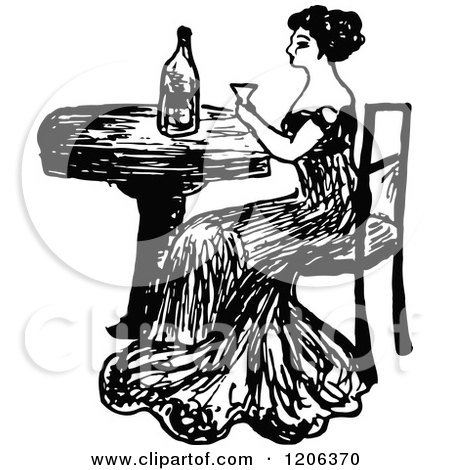 Clipart of a Vintage Black and White Lady Drinking Wine - Royalty Free Vector Illustration by Prawny Vintage