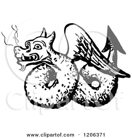 Clipart of a Vintage Black and White Winged Dragon - Royalty Free Vector Illustration by Prawny Vintage