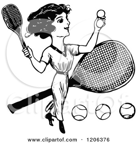 Clipart of a Vintage Black and White Lady Playing Tennis - Royalty Free Vector Illustration by Prawny Vintage