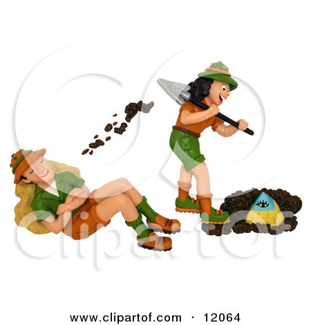 3d Female Archaeologist Digging Up A Pyramid And Tossing Dirt On Her Husband Posters, Art Prints