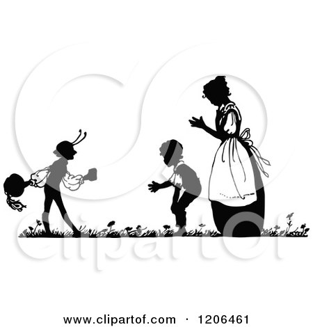 Clipart of a Vintage Black and White Silhouetted Mother and Boys - Royalty Free Vector Illustration by Prawny Vintage