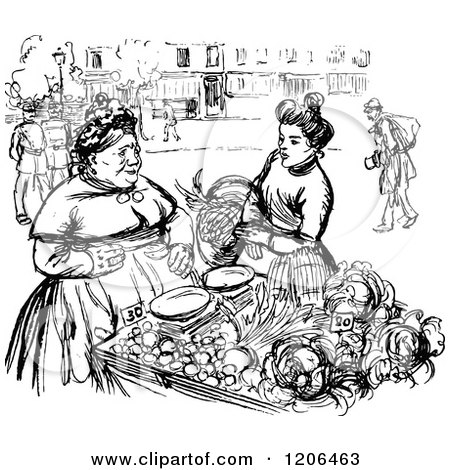 Clipart Of A Vintage Black And White Food Vendor And