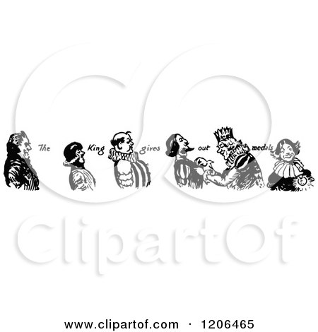 Clipart of a Vintage Black and White King Giving out Medals - Royalty Free Vector Illustration by Prawny Vintage