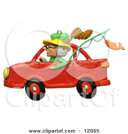 3d Granny Driving A Car To Go Fishing Posters, Art Prints
