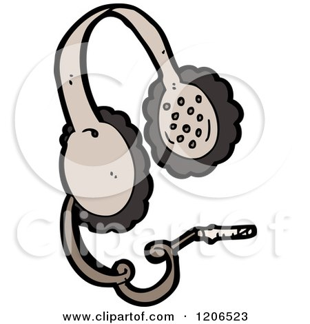 Cartoon of a Pair of Headphones - Royalty Free Vector Illustration by lineartestpilot