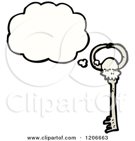 Cartoon of a Skeleton Key Thinking - Royalty Free Vector Illustration by lineartestpilot