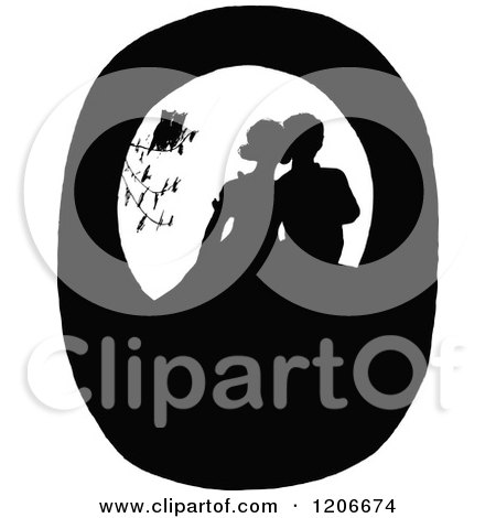Clipart of Vintage Black and White Silhouetted Birds Watching a Couple Kissing - Royalty Free Vector Illustration by Prawny Vintage
