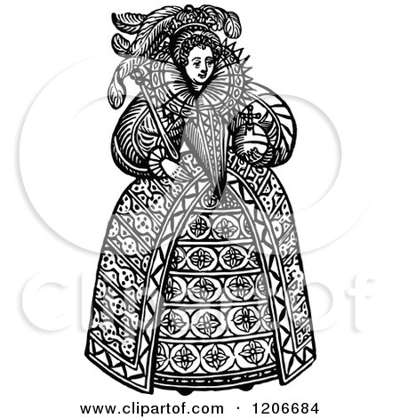Clipart of Vintage Black and White Queen Elizabeth the First - Royalty Free Vector Illustration by Prawny Vintage
