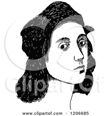 Clipart of a Vintage Black and White Portrait of Raphael - Royalty Free Vector Illustration by Prawny Vintage