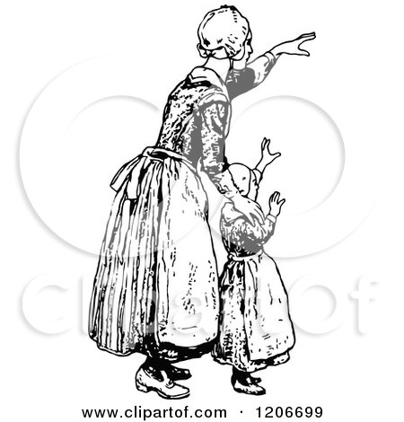 Clipart of a Vintage Black and White Mother and Daughter ...