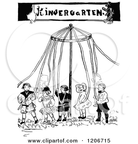 Clipart of a Vintage Black and White Kindergarten May Pole - Royalty Free Vector Illustration by Prawny Vintage