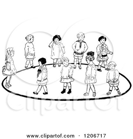 Clipart of a Vintage Black and White Group of Children Playing a Game - Royalty Free Vector Illustration by Prawny Vintage
