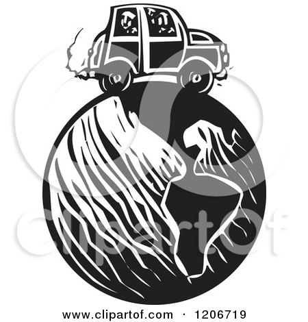 Clipart of a Car Driving on Earth Black and White Woodcut - Royalty Free Vector Illustration by xunantunich