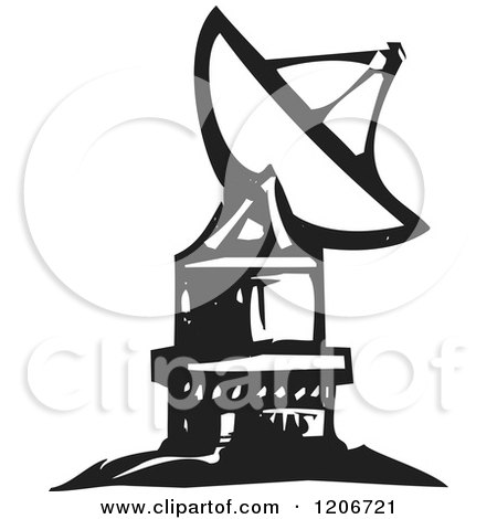 Clipart of a Satellite Dish Black and White Woodcut - Royalty Free Vector Illustration by xunantunich