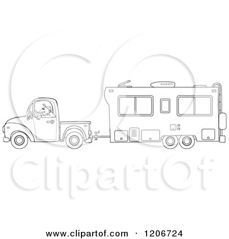 camper trailer coloring pages - cartoon of an outlined man driving a pickup truck and