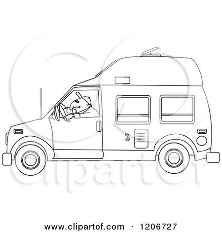 Cartoon of an Outlined Man Driving a Class B Motorhome - Royalty Free Vector Clipart by djart