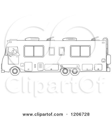 Cartoon of an Outlined Man Driving a Class a Motorhome - Royalty Free Vector Clipart by djart