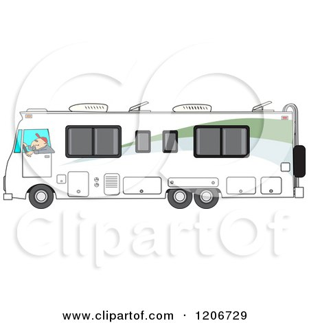 Cartoon of a Man Driving a White Class a Motorhome - Royalty Free Vector Clipart by djart