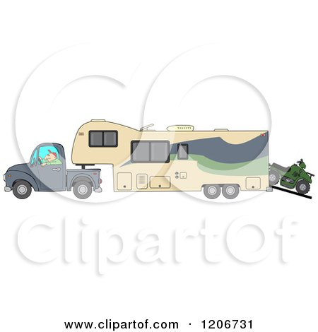 Cartoon of a Man Driving a Pickup Truck and Hauling a Trailer and ATV - Royalty Free Vector Clipart by djart