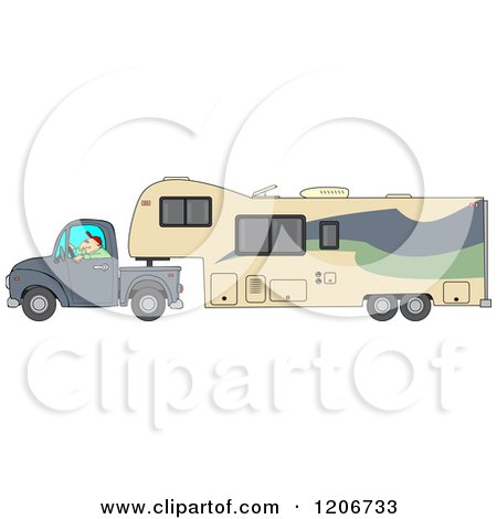 Cartoon of a Man Driving a Pickup Truck and Hauling a Camper Fifth Wheel Trailer - Royalty Free Vector Clipart by djart