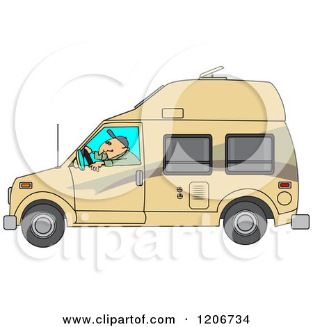 Cartoon of a Man Driving a Class B Motorhome - Royalty Free Vector Clipart by djart