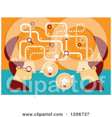 Clipart of Two Businessmen with Open Creative Brains and Ideas - Royalty Free Vector Illustration by Qiun