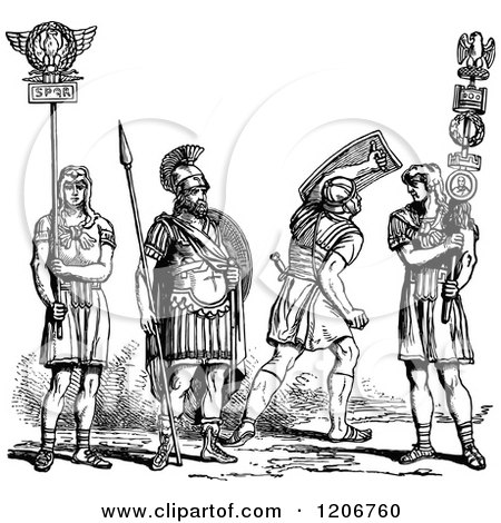 Clipart of Vintage Black and White Roman Soldiers - Royalty Free Vector Illustration by Prawny Vintage