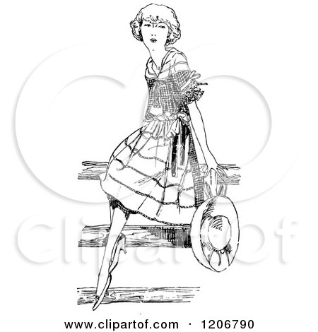 Clipart of a Vintage Black and White Pretty Girl Sitting on a Fence - Royalty Free Vector Illustration by Prawny Vintage