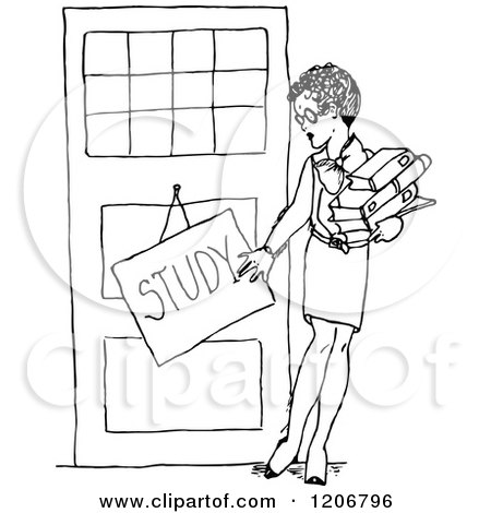 Clipart of a Vintage Black and White Female Teacher with a Study Sign - Royalty Free Vector Illustration by Prawny Vintage