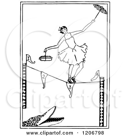 Clipart of a Vintage Black and White Ballerina Tight Rope Walking over an Alligator - Royalty Free Vector Illustration by Prawny Vintage