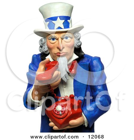 Clay Sculpture Clipart 3d Uncle Sam Holding A Phone And Urging You To Call Royalty Free 3d Illustration