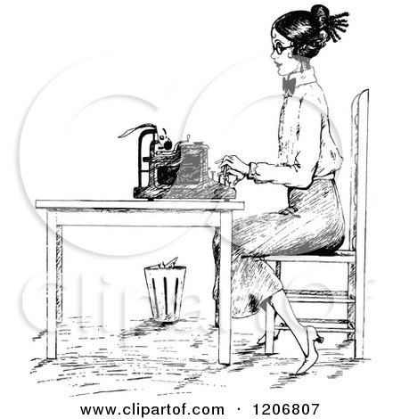 Vintage Black and White Woman Typing at a Desk Posters, Art Prints
