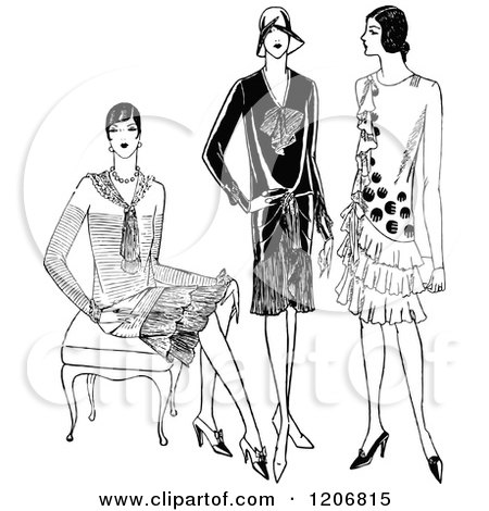 Clipart of Vintage Black and White Fashionable Ladies - Royalty Free Vector Illustration by Prawny Vintage