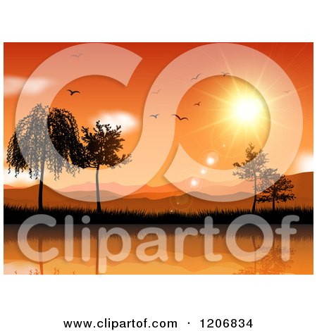 Clipart of an Orange Sunset over Mountains Trees and Water with Birds - Royalty Free Vector Illustration by KJ Pargeter