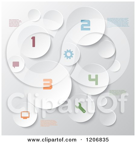 Clipart of White Circles with Infographics Sample Text and Colorful Numbers - Royalty Free Vector Illustration by KJ Pargeter