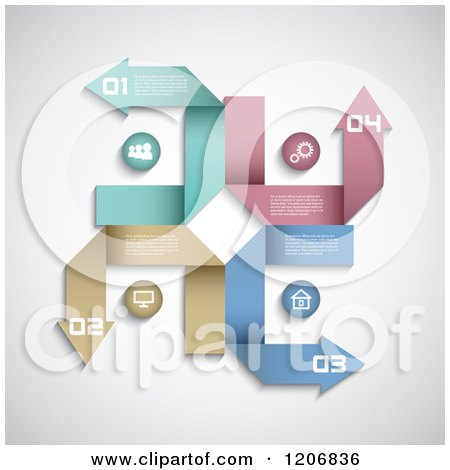 Clipart of Colorful Arrow with Infographics Sample Text and Numbers - Royalty Free Vector Illustration by KJ Pargeter