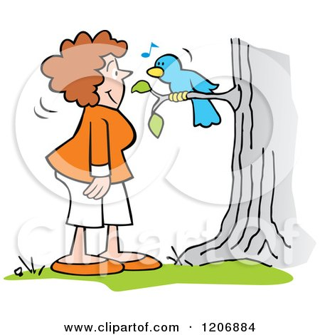 Cartoon of a Woman and Singing Bluebird - Royalty Free Vector Clipart by Johnny Sajem
