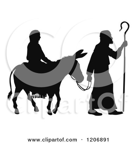 Clipart of a Silhouette of Mary and Joseph with a Donkey Nativity Scene - Royalty Free Vector Illustration by AtStockIllustration