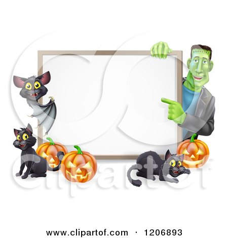 Cartoon of a Happy Frankenstein with a Vampire Bat Cats and Halloween Pumpkins Around a White Sign - Royalty Free Vector Clipart by AtStockIllustration