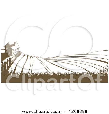 Clipart of a Farm House and Rolling Hills in Brown and White - Royalty Free Vector Illustration by AtStockIllustration