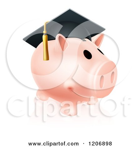 Cartoon of a Pink Graduation Piggy Bank Wearing a Mortar Board - Royalty Free Vector Clipart by AtStockIllustration