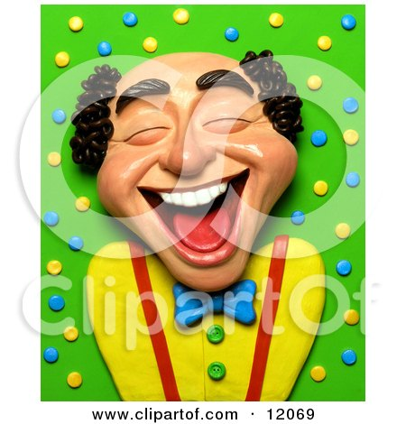 Clay Sculpture Clipart Balding Man Laughing Royalty Free 3d Illustration