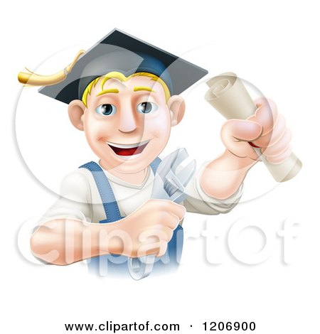 Cartoon of a Happy Blond Worker Wearing a Mortar Board, Holding a Wrench and Degree - Royalty Free Vector Clipart by AtStockIllustration