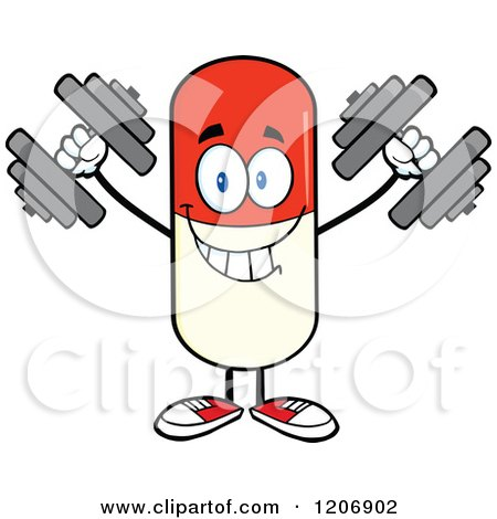 Cartoon of a Happy Pill Mascot Lifting Dumbbells - Royalty Free Vector Clipart by Hit Toon